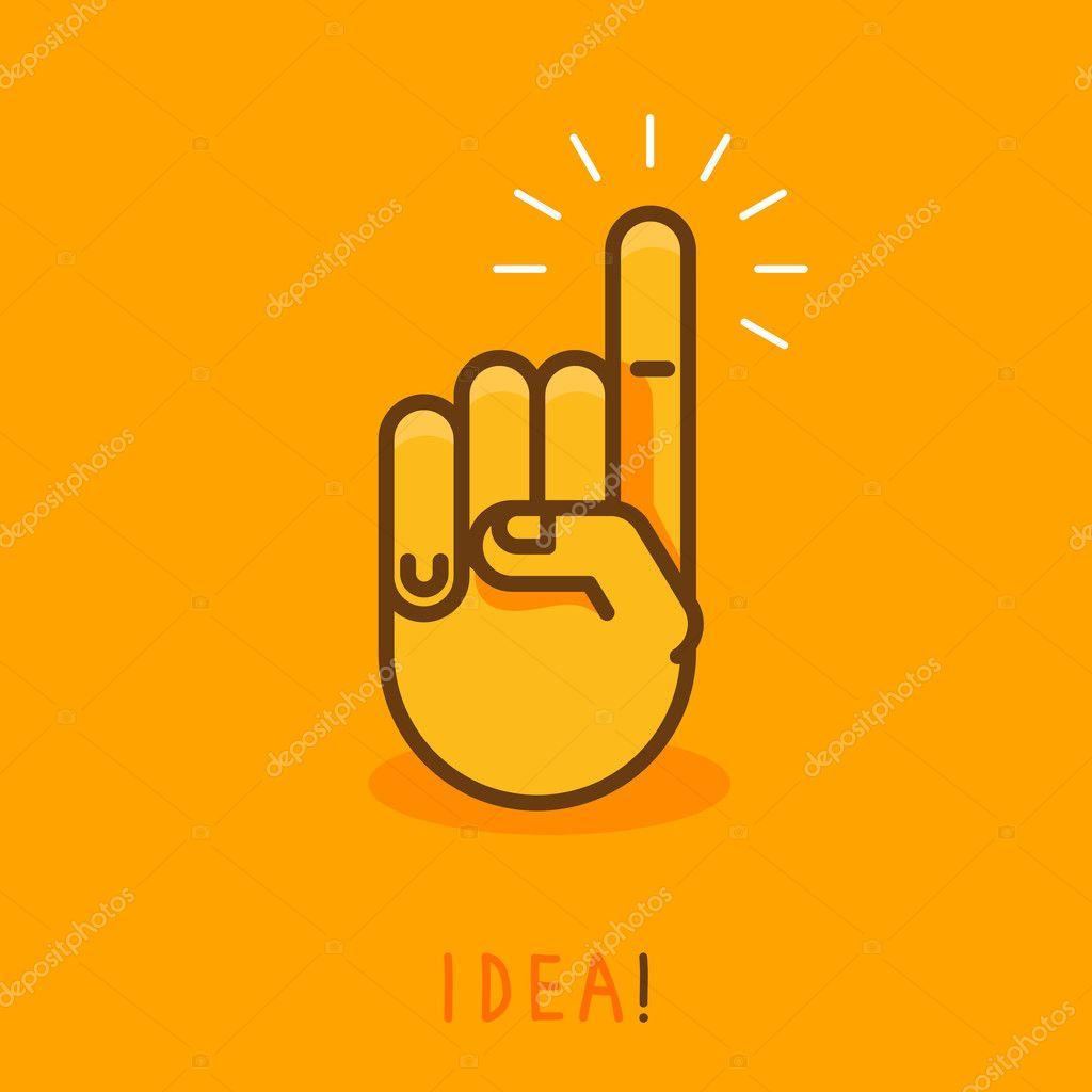 矢量抽象创意概念 —— 用手指向上-大纲样式中插图的手形图标—