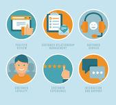 Düz müşteri deneyimi kavramları vektör — Stok Vektör