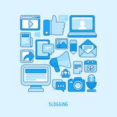 Concepto de Vector - blogging y escribir para la web — Vector de stock