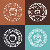 Vector coffee mugs on round emblems — Stock Vector