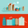Vector city illustration in flat simple style — Stock Vector #48437065