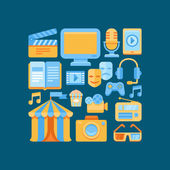 Vector media and entertainment icons in flat style — Stock Vector