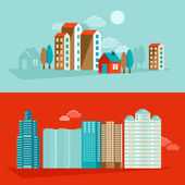 Vector city illustration in flat simple style — Stock Vector