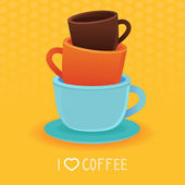 Vector stack of coffee mugs and cups — Stock Vector