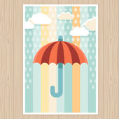 Umbrella and rain - illustration in flat style — Stock Vector