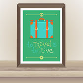 Vector poster - To travel is to live — Stockvektor
