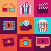 Vector flat cinema icons — Stock Vector