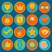 Vector set of 16 flat gamification icons — Stock Vector