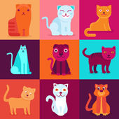 Vector set of 9 flat cat illustrations — Stock Vector
