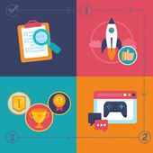 Vector gamification process — Stock Vector