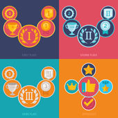 Vector gamification icons in flat style — Stock Vector