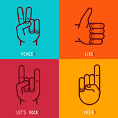Vector set of outline icons - gestures and signs — Stok Vektör
