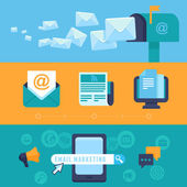 Vector email marketing concepts - flat icons — Stockvector