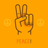 Vector peace sign - hand showing two fingers — Stock Vector