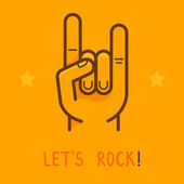 Vector let's rock banner in outline style — 图库矢量图片