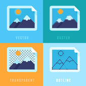 Vector flat icons - different image formats — Vettoriale Stock