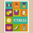 Vector set of fitness icons on greeting card — Stock Vector #49836291