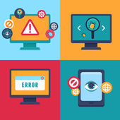 Vector flat icons - internet security and virus — Vetorial Stock