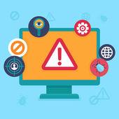 Vector flat icons - internet security and virus — Stockvektor