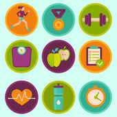 Vector set of fitness icons — Stockvektor
