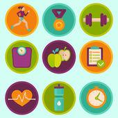Vektor-reihe von fitness-symbole — Stockvektor
