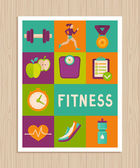 Vector set of fitness icons on greeting card — Stock Vector