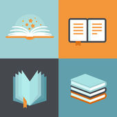 Vector book signs and symbols - education concepts — Stock Vector