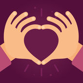 Vector hands in the form of heart — Stock Vector