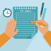 Vector personal goals list in flat style — Stock Vector