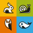 Vector animal emblems and icons in flat style — Stock Vector #50931017