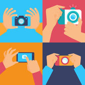 Cameras and mobile photography — Stock Vector
