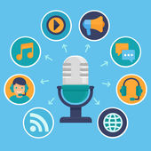 Vector podcast concept in flat style — Stock Vector