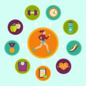 Vector fitness infographics design elements — Stock Vector