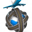 Roads round globe and airplane on white background. Isolated 3D - Stock Photo