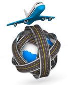 Vägarna runt världen och flygplan på vit bakgrund. isolerade 3d — Stockfoto