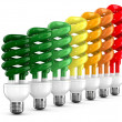 Energy saving bulbs on white background. Isolated 3D image - Stock Photo