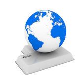 Botón y globo sobre fondo blanco. imagen 3d aislada — Foto de Stock