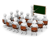 Teacher with pointer at blackboard. Isolated 3D image — Stock Photo