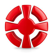 Red cross in circle on white background. Isolated 3D image — Stock Photo