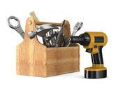 Drewniany przybornik z narzędzi. na białym tle obraz 3d — Zdjęcie stockowe