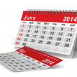 2014 year calendar. June. Isolated 3D image — Stock Photo