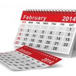 2014 year calendar. February. Isolated 3D image — Stock Photo