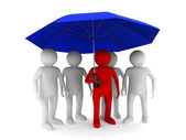 Man with blue umbrella on white background. Isolated 3D image — Stock Photo