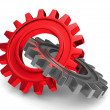 Two chrome gears on white background. Isolated 3D image — Stock Photo #21297091