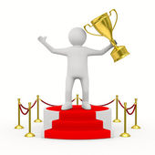 Man with cup on podium. Isolated 3D image — Stock Photo