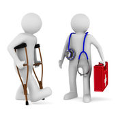 Man on crutches and doctor. Isolated 3D image — Stock Photo