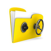 Yellow computer folder with lock. Isolated 3d image — Stock Photo