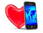 携帯電話と白い背景の上の心。分離の 3 d イメージ — ストック写真