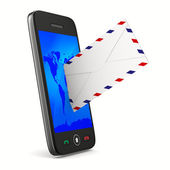 Phone and mail on white background. Isolated 3D image — Stock Photo
