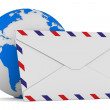 E-mail concept on white background. Isolated 3D image — Stock Photo